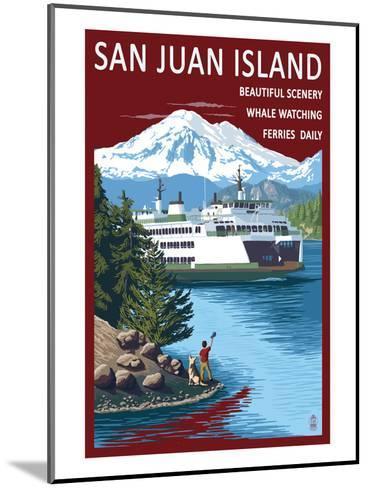 San Juan Island, Washington - Ferry in Passage-Lantern Press-Mounted Art Print
