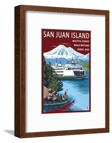 San Juan Island, Washington - Ferry in Passage-Lantern Press-Framed Art Print