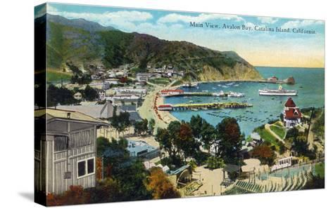 Santa Catalina Island, California - Panoramic View of Avalon and Bay-Lantern Press-Stretched Canvas Print