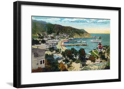 Santa Catalina Island, California - Panoramic View of Avalon and Bay-Lantern Press-Framed Art Print
