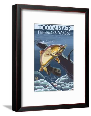 Toccoa River - Trout under Water-Lantern Press-Framed Art Print