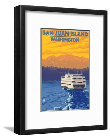 San Juan Island, Washington - Ferry and Mountains-Lantern Press-Framed Art Print