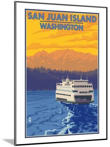 San Juan Island, Washington - Ferry and Mountains-Lantern Press-Mounted Art Print