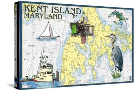 Kent Island, Maryland - Nautical Chart-Lantern Press-Stretched Canvas Print