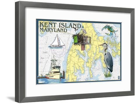 Kent Island, Maryland - Nautical Chart-Lantern Press-Framed Art Print
