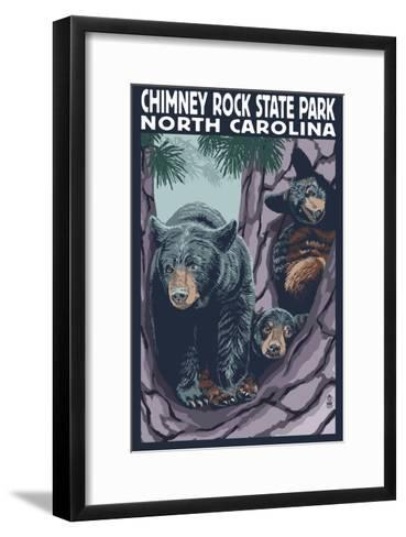Chimney Rock State Park, NC - Bear and Cubs-Lantern Press-Framed Art Print
