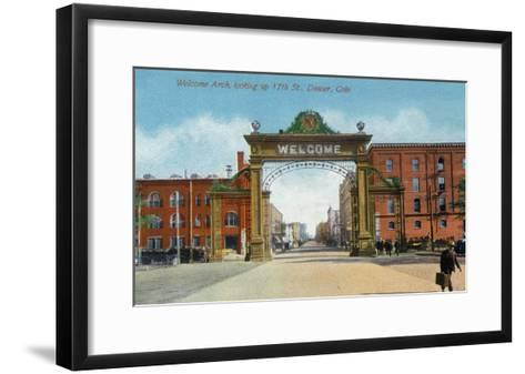 Denver, Colorado - Up 17th Street from the Welcome Arch-Lantern Press-Framed Art Print