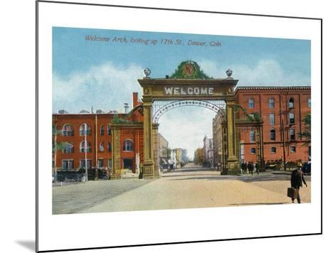 Denver, Colorado - Up 17th Street from the Welcome Arch-Lantern Press-Mounted Art Print