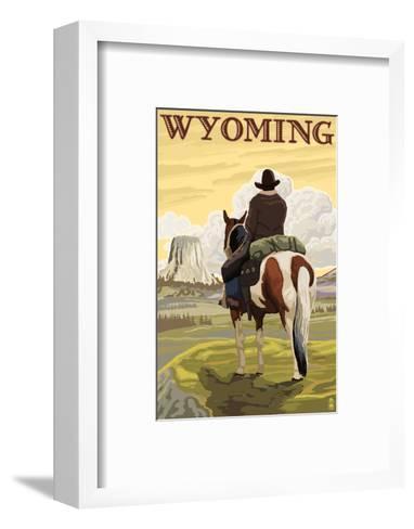 Cowboy and Devil's Tower - Wyoming-Lantern Press-Framed Art Print