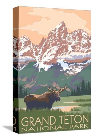 Grand Teton National Park - Moose and Mountains-Lantern Press-Stretched Canvas Print