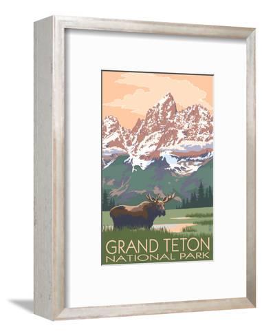 Grand Teton National Park - Moose and Mountains-Lantern Press-Framed Art Print