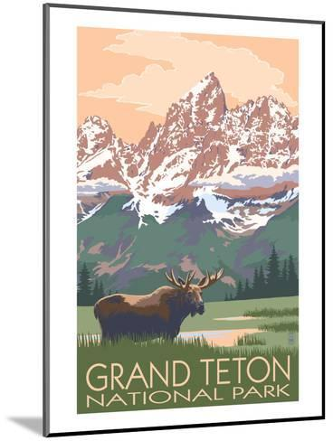 Grand Teton National Park - Moose and Mountains-Lantern Press-Mounted Art Print