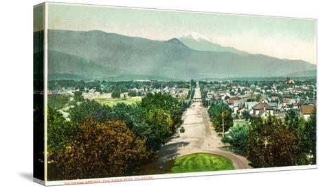 Colorado Springs, Colorado - Panoramic View of Town with Pikes Peak-Lantern Press-Stretched Canvas Print