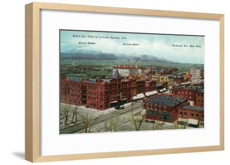 Colorado Springs, Colorado - Aerial View of Town, Alamo and Antlers Hotels-Lantern Press-Framed Art Print