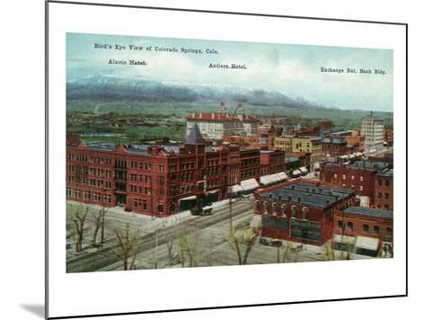 Colorado Springs, Colorado - Aerial View of Town, Alamo and Antlers Hotels-Lantern Press-Mounted Art Print