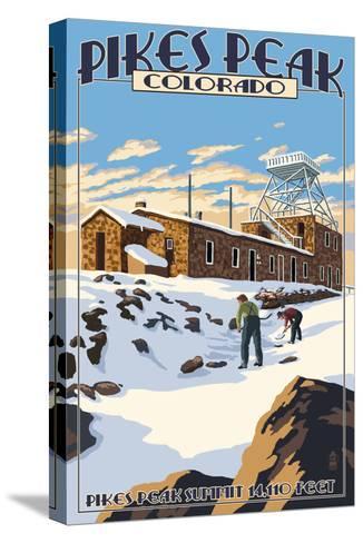 Snow Scene Atop Pikes Peak, Colorado-Lantern Press-Stretched Canvas Print
