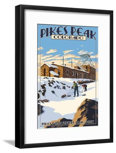 Snow Scene Atop Pikes Peak, Colorado-Lantern Press-Framed Art Print