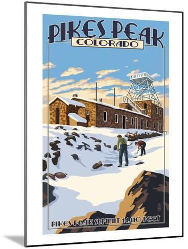 Snow Scene Atop Pikes Peak, Colorado-Lantern Press-Mounted Art Print