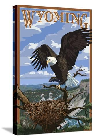 Eagle and Chicks - Wyoming-Lantern Press-Stretched Canvas Print