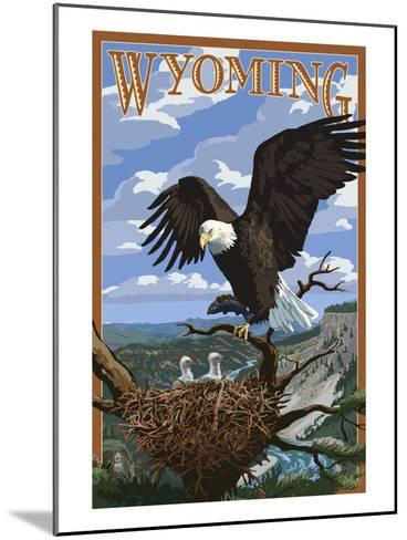 Eagle and Chicks - Wyoming-Lantern Press-Mounted Art Print