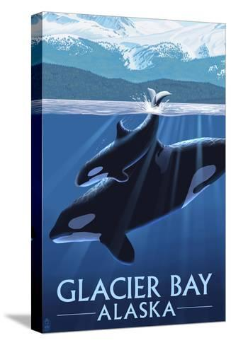 Glacier Bay, Alaska - Orca and Calf-Lantern Press-Stretched Canvas Print