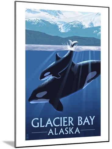 Glacier Bay, Alaska - Orca and Calf-Lantern Press-Mounted Art Print