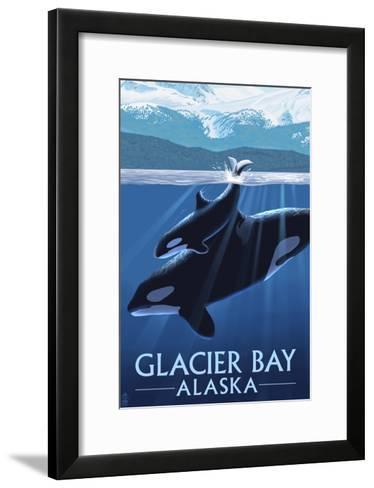 Glacier Bay, Alaska - Orca and Calf-Lantern Press-Framed Art Print