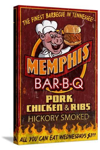Memphis, Tennessee - Barbecue-Lantern Press-Stretched Canvas Print
