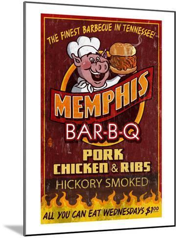 Memphis, Tennessee - Barbecue-Lantern Press-Mounted Art Print