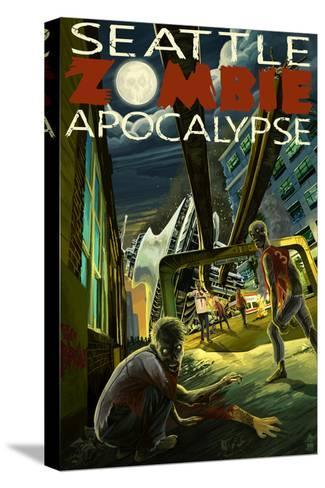 Seattle Zombie Apocalypse-Lantern Press-Stretched Canvas Print