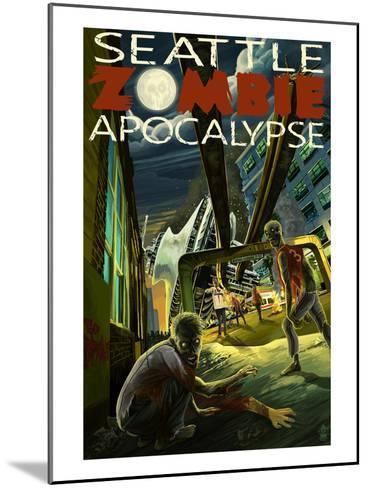 Seattle Zombie Apocalypse-Lantern Press-Mounted Art Print