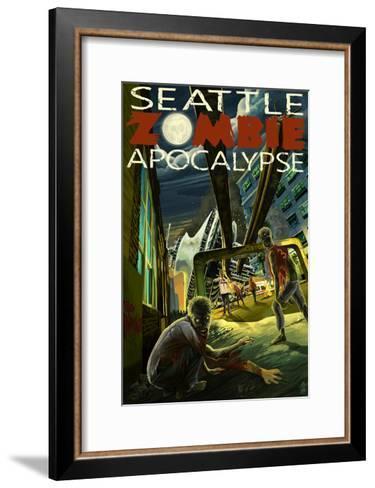 Seattle Zombie Apocalypse-Lantern Press-Framed Art Print
