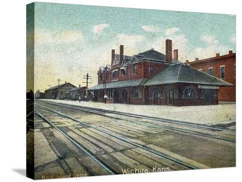 Wichita, Kansas - Exterior View of Rock Island Train Depot-Lantern Press-Stretched Canvas Print