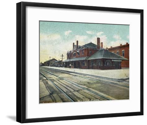 Wichita, Kansas - Exterior View of Rock Island Train Depot-Lantern Press-Framed Art Print