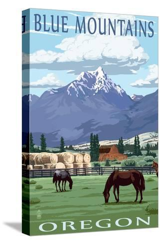 Blue Mountains Scene - Oregon-Lantern Press-Stretched Canvas Print