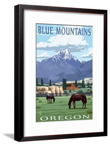 Blue Mountains Scene - Oregon-Lantern Press-Framed Art Print