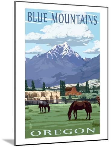 Blue Mountains Scene - Oregon-Lantern Press-Mounted Art Print