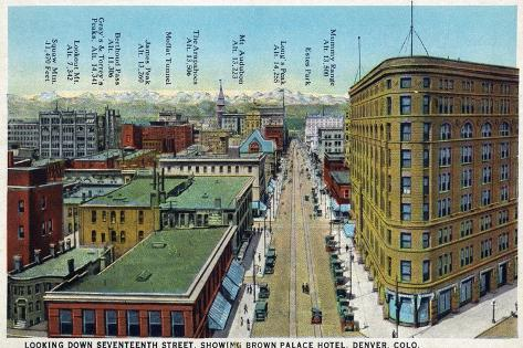 Denver, Colorado - View Down 17th Street Showing Brown Palace Hotel-Lantern Press-Stretched Canvas Print