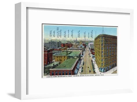 Denver, Colorado - View Down 17th Street Showing Brown Palace Hotel-Lantern Press-Framed Art Print