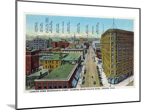 Denver, Colorado - View Down 17th Street Showing Brown Palace Hotel-Lantern Press-Mounted Art Print