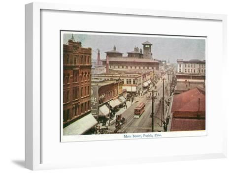 Pueblo, Colorado - Panoramic View of Main Street-Lantern Press-Framed Art Print