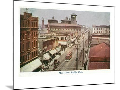 Pueblo, Colorado - Panoramic View of Main Street-Lantern Press-Mounted Art Print