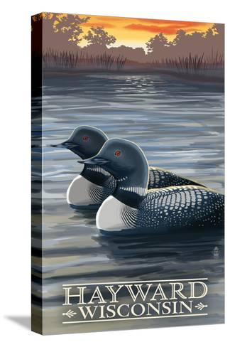 Hayward, Wisconsin - Loons-Lantern Press-Stretched Canvas Print