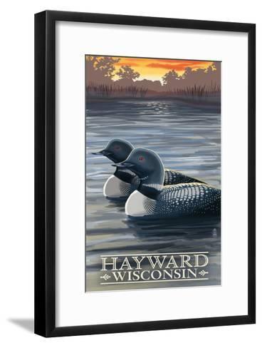 Hayward, Wisconsin - Loons-Lantern Press-Framed Art Print