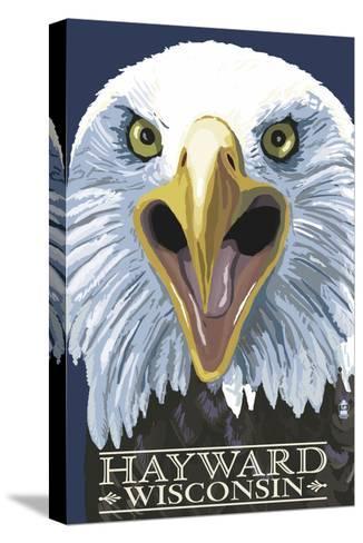 Hayward, Wisconsin - Eagle Up Close-Lantern Press-Stretched Canvas Print