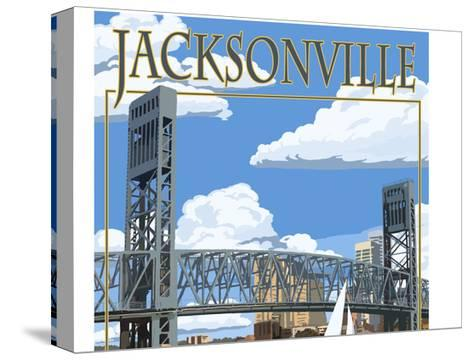 Jacksonville, Florida - Bridge Scene-Lantern Press-Stretched Canvas Print