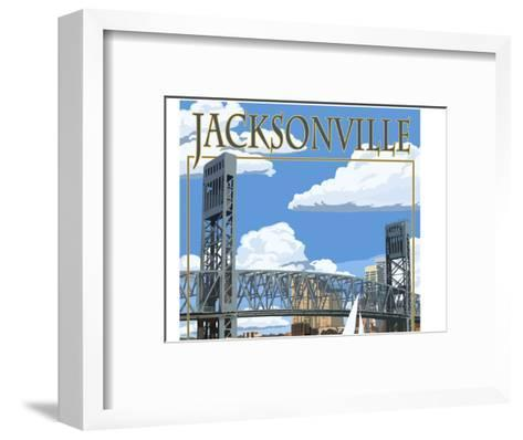Jacksonville, Florida - Bridge Scene-Lantern Press-Framed Art Print
