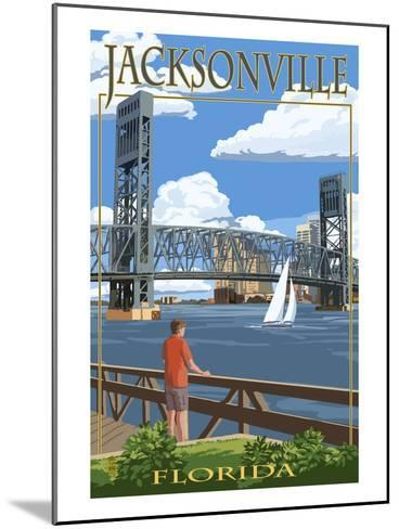 Jacksonville, Florida - Bridge Scene-Lantern Press-Mounted Art Print