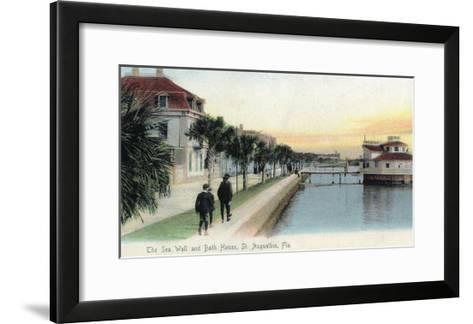 St. Augustine, Florida - View of the Sea Wall and Bath House-Lantern Press-Framed Art Print