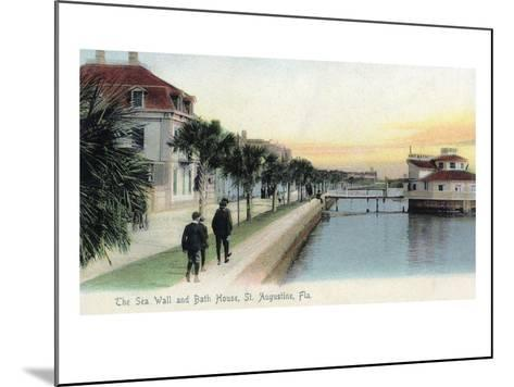 St. Augustine, Florida - View of the Sea Wall and Bath House-Lantern Press-Mounted Art Print